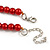 Red Glass Bead with Silver Tone Metal Wire Element Necklace - 70cm L/ 5cm Ext - view 7