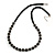 Black Glass Bead with Silver Tone Metal Wire Element Necklace - 70cm L/ 5cm Ext
