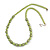 Canary Green Glass Bead with Silver Tone Metal Wire Element Necklace - 70cm L/ 5cm Ext