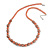 Orange Glass Bead with Silver Tone Metal Wire Element Necklace - 70cm L/ 5cm Ext
