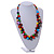 Multicoloured Cluster Wood Bead Necklace - 60cm Long - view 2