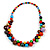 Multicoloured Cluster Wood Bead Necklace - 60cm Long - view 3
