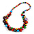Multicoloured Cluster Wood Bead Necklace - 60cm Long