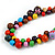 Multicoloured Cluster Wood Bead Necklace - 60cm Long - view 4