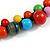 Multicoloured Cluster Wood Bead Necklace - 60cm Long - view 5