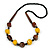 Chunky Yellow/ Brown/ Black Wooden Bead Necklace - 80cm Long