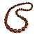 Brown Graduated Wooden Bead Necklace - 70cm Long