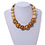 Chunky Colour Fusion Wood Bead Necklace (Golden, Black, Natural) - 48cm L - view 2
