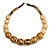 Chunky Colour Fusion Wood Bead Necklace (Golden, Black, Natural) - 48cm L - view 3
