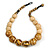 Chunky Colour Fusion Wood Bead Necklace (Golden, Black, Natural) - 48cm L