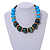 Chunky Colour Fusion Wood Bead Necklace (Light Blue/ Teal/ Natural) - 48cm L - view 2