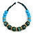 Chunky Colour Fusion Wood Bead Necklace (Light Blue/ Teal/ Natural) - 48cm L - view 3