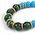 Chunky Colour Fusion Wood Bead Necklace (Light Blue/ Teal/ Natural) - 48cm L - view 4