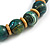 Chunky Colour Fusion Wood Bead Necklace (Light Blue/ Teal/ Natural) - 48cm L - view 5