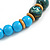 Chunky Colour Fusion Wood Bead Necklace (Light Blue/ Teal/ Natural) - 48cm L - view 6