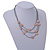3 Strand Layered Mouse Grey Leather Cord with Matt Rose Gold Hammered Coin Magnetic Necklace - 50cm L - view 2