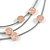 3 Strand Layered Mouse Grey Leather Cord with Matt Rose Gold Hammered Coin Magnetic Necklace - 50cm L - view 3