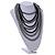 Multistrand Layered Bib Style Wood Bead Necklace In Black/ Grey - 40cm Shortest/ 70cm Longest Strand - view 2