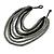 Multistrand Layered Bib Style Wood Bead Necklace In Black/ Grey - 40cm Shortest/ 70cm Longest Strand - view 3
