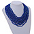 Statement Multistrand Cobalt Blue Glass Bead Necklace with Wood Closure - 60cm Long - view 2
