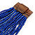 Statement Multistrand Cobalt Blue Glass Bead Necklace with Wood Closure - 60cm Long - view 4