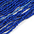 Statement Multistrand Cobalt Blue Glass Bead Necklace with Wood Closure - 60cm Long - view 5
