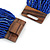 Statement Multistrand Cobalt Blue Glass Bead Necklace with Wood Closure - 60cm Long - view 6