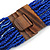 Statement Multistrand Cobalt Blue Glass Bead Necklace with Wood Closure - 60cm Long - view 7