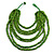 Multistrand Layered Bib Style Wood Bead Necklace In Lime Green - 40cm Shortest/ 70cm Longest Strand