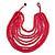 Multistrand Layered Bib Style Wood Bead Necklace In Deep Pink - 40cm Shortest/ 70cm Longest Strand