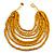 Multistrand Layered Bib Style Wood Bead Necklace In Yellow - 40cm Shortest/ 70cm Longest Strand