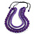 Chunky 3 Strand Layered Resin Bead Cord Necklace In Purple - 60cm up to 70cm Adjustable