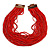 Statement Multistrand Fire Red Glass Bead Necklace with Wood Closure - 60cm Long