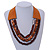 Handmade Multistrand Wood Bead and Leather Bib Style Necklace in Brown - 64cm Long - view 2