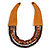 Handmade Multistrand Wood Bead and Leather Bib Style Necklace in Brown - 64cm Long