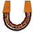 Handmade Multistrand Wood Bead and Leather Bib Style Necklace in Brown - 64cm Long - view 3