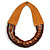 Handmade Multistrand Wood Bead and Leather Bib Style Necklace in Brown - 64cm Long - view 4