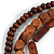 Handmade Multistrand Wood Bead and Leather Bib Style Necklace in Brown - 64cm Long - view 5