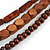 Handmade Multistrand Wood Bead and Leather Bib Style Necklace in Brown - 64cm Long - view 6