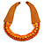 Handmade Multistrand Wood Bead and Leather Bib Style Necklace in Orange - 64cm Long