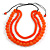 Chunky 3 Strand Layered Resin Bead Cord Necklace In Orange - 60cm up to 70cm Adjustable