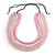 Chunky 3 Strand Layered Resin Bead Cord Necklace In Baby Pink/ Light Pink - 60cm up to 70cm Adjustable