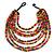 Multicoloured Multistrand Layered Bib Style Wood Bead Necklace - 40cm Shortest/ 70cm Longest Strand
