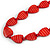Long Red Wood Heart Bead Black Cord Necklace - 86cm Long - view 4