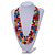 Chunky 3 Strand Layered Resin Bead Cord Necklace In Multi - 60cm up to 70cm Adjustable - view 2