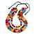 Chunky 3 Strand Layered Resin Bead Cord Necklace In Multi - 60cm up to 70cm Adjustable - view 3