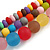 Chunky 3 Strand Layered Resin Bead Cord Necklace In Multi - 60cm up to 70cm Adjustable - view 5