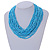 Statement Multistrand Light Blue Glass Bead Necklace with Wood Closure - 60cm Long - view 2