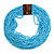 Statement Multistrand Light Blue Glass Bead Necklace with Wood Closure - 60cm Long - view 3