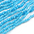Statement Multistrand Light Blue Glass Bead Necklace with Wood Closure - 60cm Long - view 5